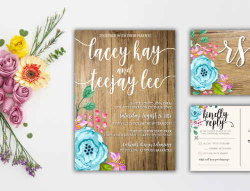Floral & Wood Wedding Set