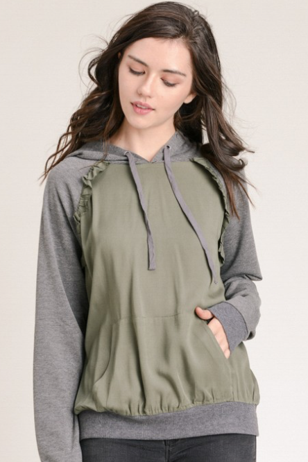 2662048decf Woven Contrast Ruffled Color Block Hoodie – Olive/Grey – HH Design